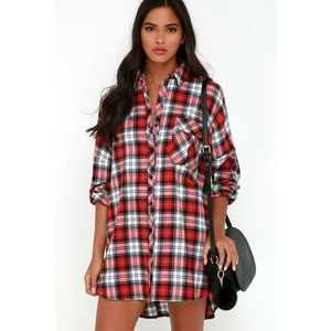 Lulus Pacific Forest Red Plaid Shirtdress Mini